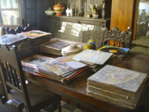 records piled on a table